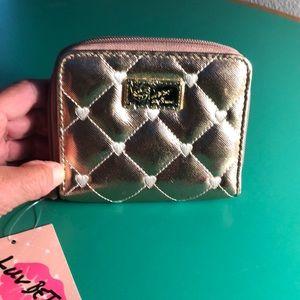Betsey Johnson Gold Heart Zippered Wallet